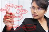 Asian businesswoman writing on glass board