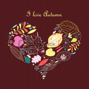 Decorative heart of autumn leaves