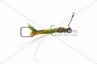fly-fishing on white background