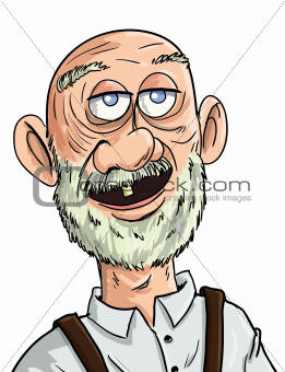Cartoon old man with one tooth