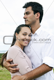 portrait of a hispanic couple in love