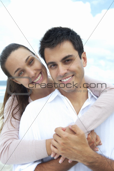 portrait of a couple in love on the beach