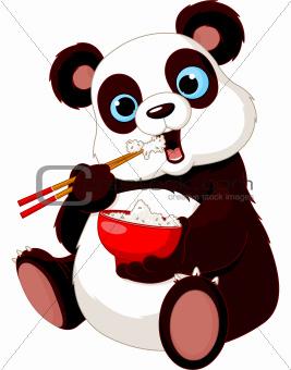 Image 4767100: Panda eating rice from Crestock Stock Photos