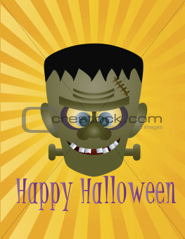 Happy Halloween Frankenstein Monster Illustration