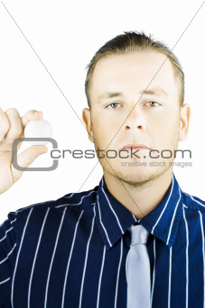 Isolated Golf Player Holding Ball On White