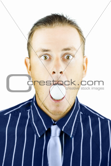 Dumbfounded man silenced by a golf ball