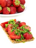 Strawberry brusketa with parsley pesto.