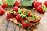  Strawberry bruschetta with parsley pesto.