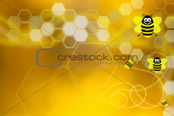 Golden wallpaper with honeycomb and bees