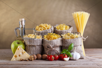 Healthy diet with pasta and fresh ingredients
