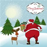 Santa coming, Christmas greeting card