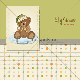 baby greeting card with sleepy teddy bear