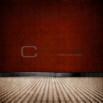 red retro vintage grunge empty room