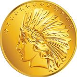 Vector American money gold coin dollar