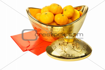 Mandarin Oranges in Gold Ingot and Red Packets