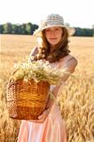 Young woman with basket full of ripe spikelets of wheat in the field