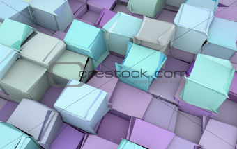 shattered blue and purple 3d cubes
