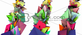 3d abstract fragmented colored spiked shape on white