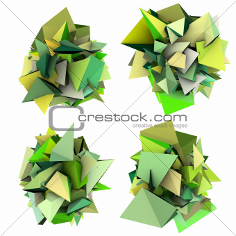 3d render growing shape in multiple shades of green 
