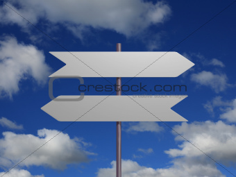 Two signs against sky