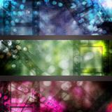 abstract cinema banner set