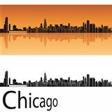 Chicago skyline in orange background