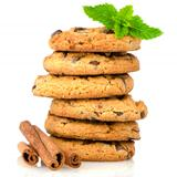 Tasty oat biscuits with cinnamon sticks