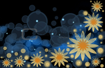 An abstract bright background with yellow flowers