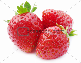 three fresh, juicy and healthy strawberries