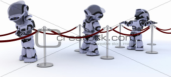 Robots waiting in line