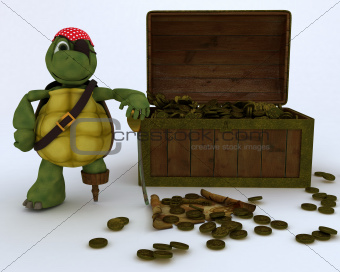 tortoise pirate with a treasure chest