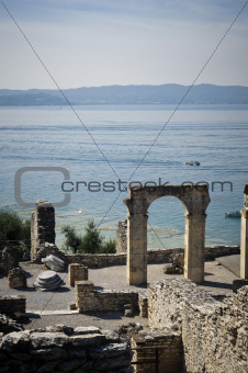 Roman ruins on Garda Lake in Sirmione, Italy