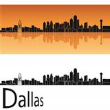 Dallas skyline in orange background