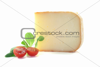 Piece of cheese with tomato