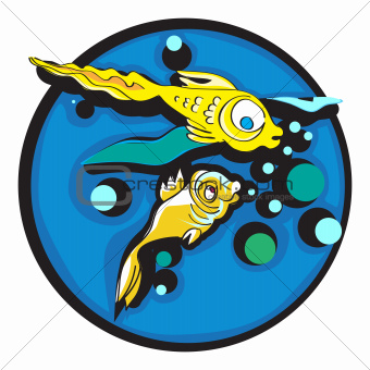 golden fishes clip art