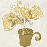 vector stylized cup of coffee on crumpled paper texture