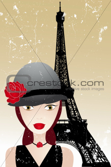 Vintage poster with beautiful girl in paris