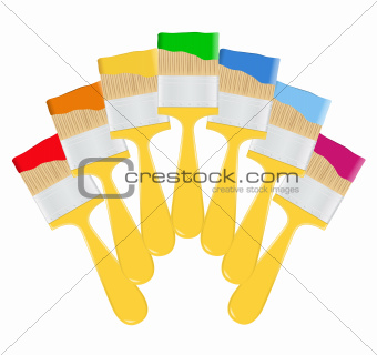 Vector Yellow Paintbrushes