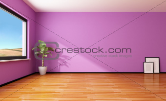 Empty purple interior
