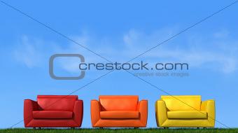 Three armchair on grass