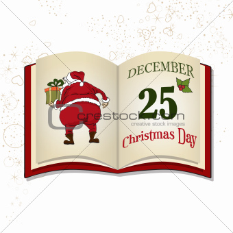 Christmas book isolated on white background
