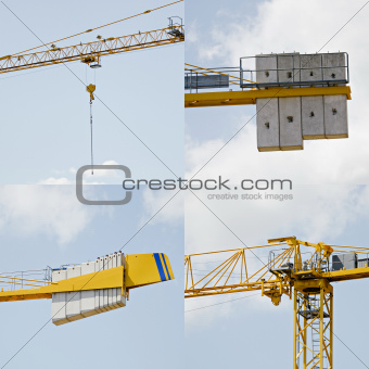 Details of a crane on a construction site.