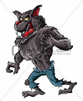 Cartoon werewolf with claws and teeth
