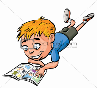 Cartoon boy reading a comic book