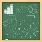 Graphs and diagrams on a blackboard