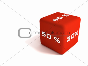 Red dice with different kinds of discounts