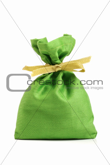 green cloth sack isolated on white background