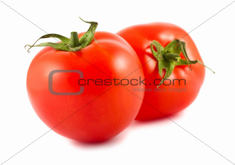 Two ripe red tomatoes