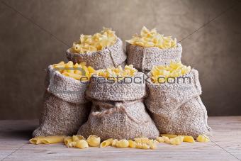 Pasta variety in burlap bags