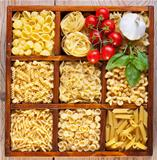 Pasta variety in a compartmented box